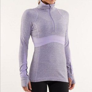 Lululemon Run: Full Tilt lilac 1/2 zip pullover